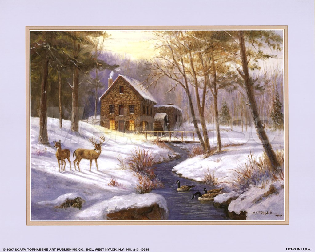 log cabin with deer fine art print by marianne caroselli