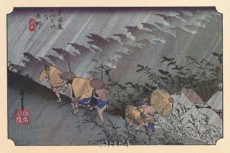 A Sudden Shower at Shono by Ichiryusai Hiroshige art print