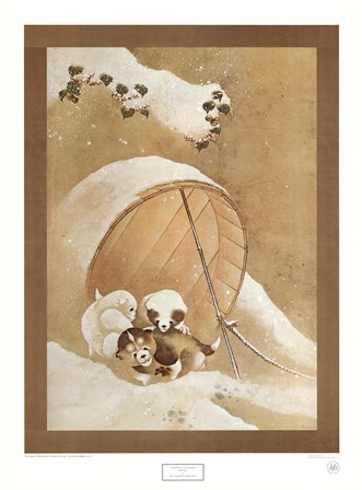 Puppies in the Snow by Katsushika Hokusai art print