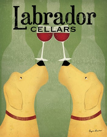 Two Labrador Wine Dogs by Ryan Fowler art print