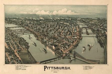 Pittsburgh Map, 1902 by Lantern Press art print