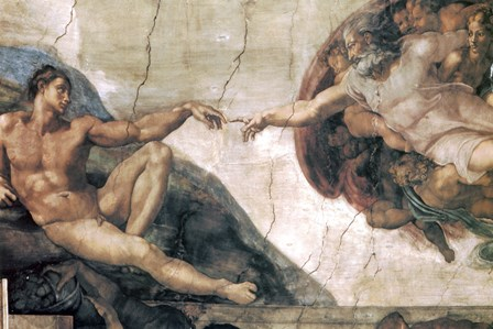 Michelangelo, Creation of man by Vintage Apple Collection art print