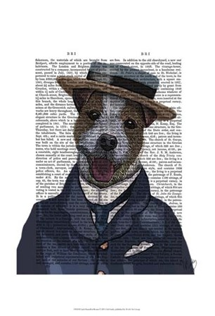 Jack Russell in Boater by Fab Funky art print