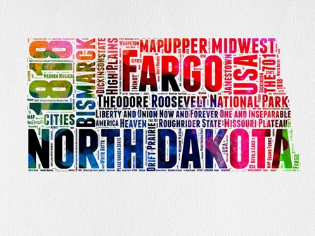 North Dakota Watercolor Word Cloud by Naxart art print