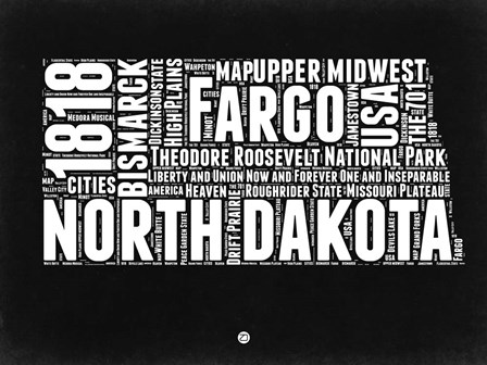 North Dakota Black and White Map by Naxart art print
