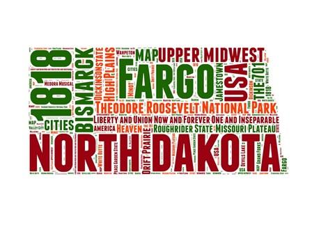 North Dakota Word Cloud Map by Naxart art print