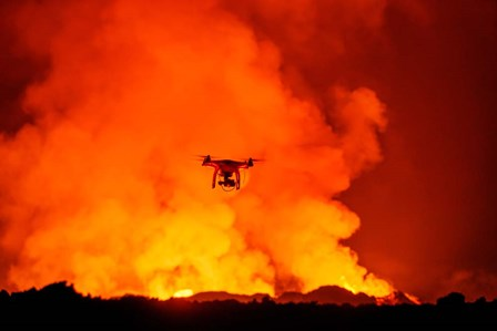 Radio Contolled Drone flying over Eruption, Holuhraun Fissure, Bardarbunga Volcano, Iceland. by Panoramic Images art print