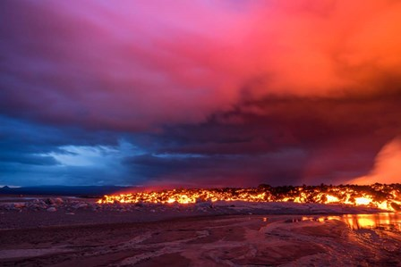 Glowing Lava and Skies at the Holuhraun Fissure, Iceland by Panoramic Images art print