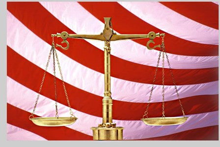 Scales of Justice American Flag by Panoramic Images art print
