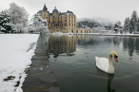 Chateau de Vizille, Swan lake, France by Panoramic Images art print