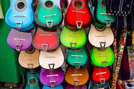 Colorful Guitars, Downtown Los Angeles by Panoramic Images art print