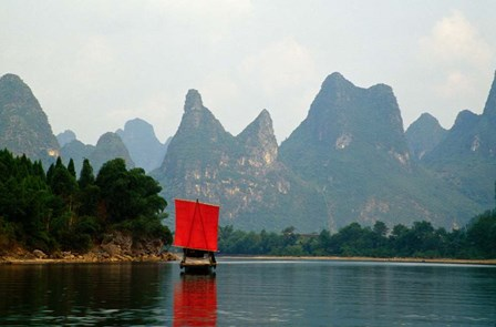 Boat on Li River, Guilin, China by Panoramic Images art print
