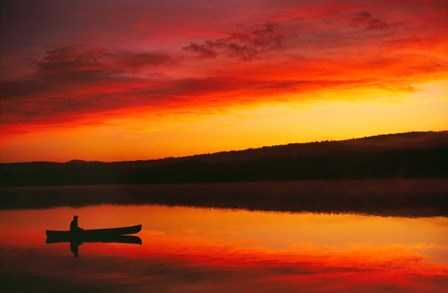 Silhouetted Canoe On Lake by Panoramic Images art print