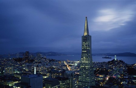 Transamerica Pyramid, Coit Tower, San Francisco, California by Panoramic Images art print