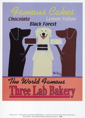 Three Lab Bakery by Ken Bailey art print
