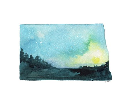North Dakota State Watercolor by Jessica Durrant art print