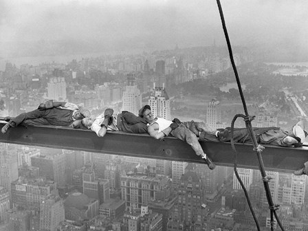 Construction Workers Resting on Steel Beam Above Manhattan, 1932 art print