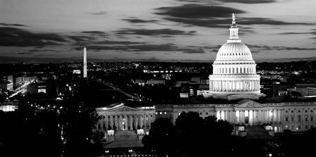 High angle view of a city lit up at dusk, Washington DC by Panoramic Images art print