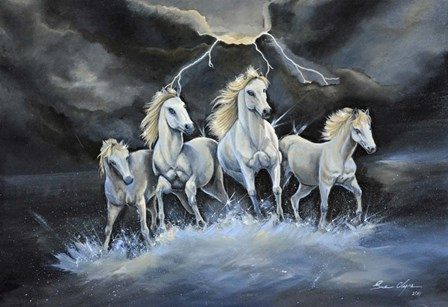 Thundering Horses by Sue Clyne art print