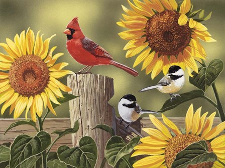 Sunflowers and Songbirds by William Vanderdasson art print