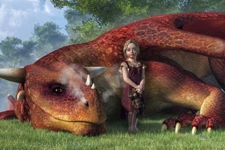 A Little Girl And Her Dragon by Daniel Eskridge art print