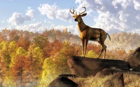 Buck Over Autumn Valley by Daniel Eskridge art print