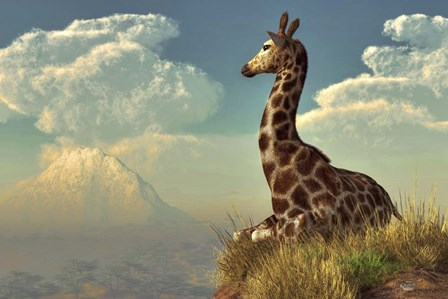 Giraffe And Distant Mountain by Daniel Eskridge art print