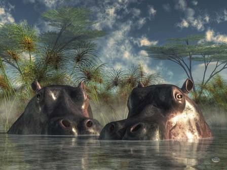 Hippos Coming To Get You by Daniel Eskridge art print