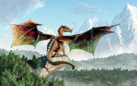 Perched Dragon by Daniel Eskridge art print