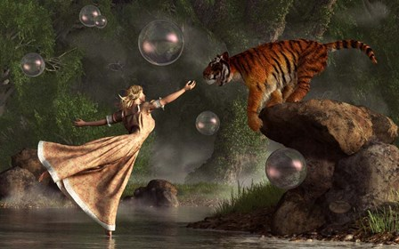 Surreal Tiger Bubble Water Dancer by Daniel Eskridge art print
