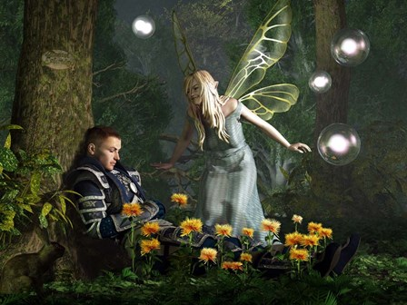 The Knight And The Faerie by Daniel Eskridge art print
