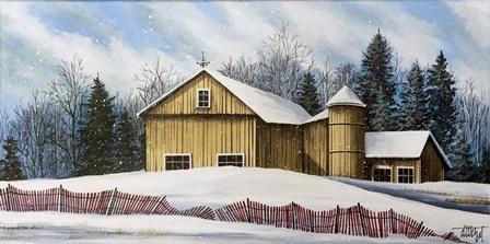 Yellow Barn Winter 2 by Debbi Wetzel art print