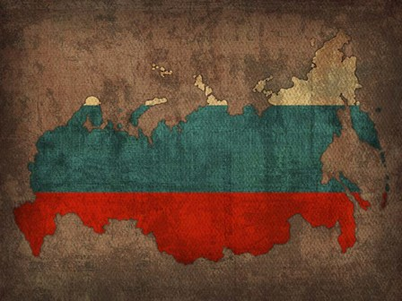 Russia Country Flag Map by Red Atlas Designs art print