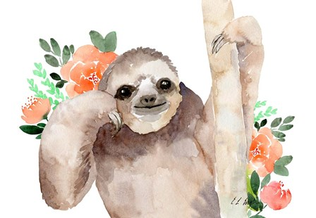 Big Brown Sloth - Peach Flowers by Elise Engh art print