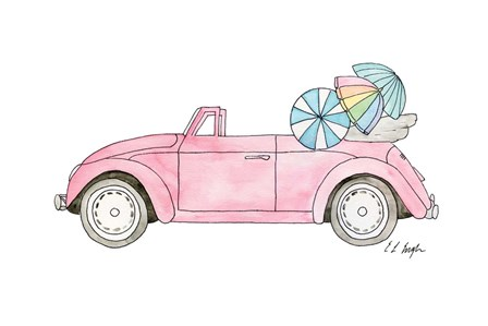 Pink Car with Umbrellas by Elise Engh art print