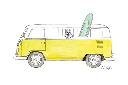 Yellow Van with Green Surf Board by Elise Engh art print